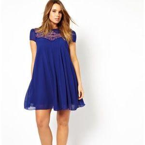 NWOT ASOS Curve Blue Swing Dress Lace Peter Pan